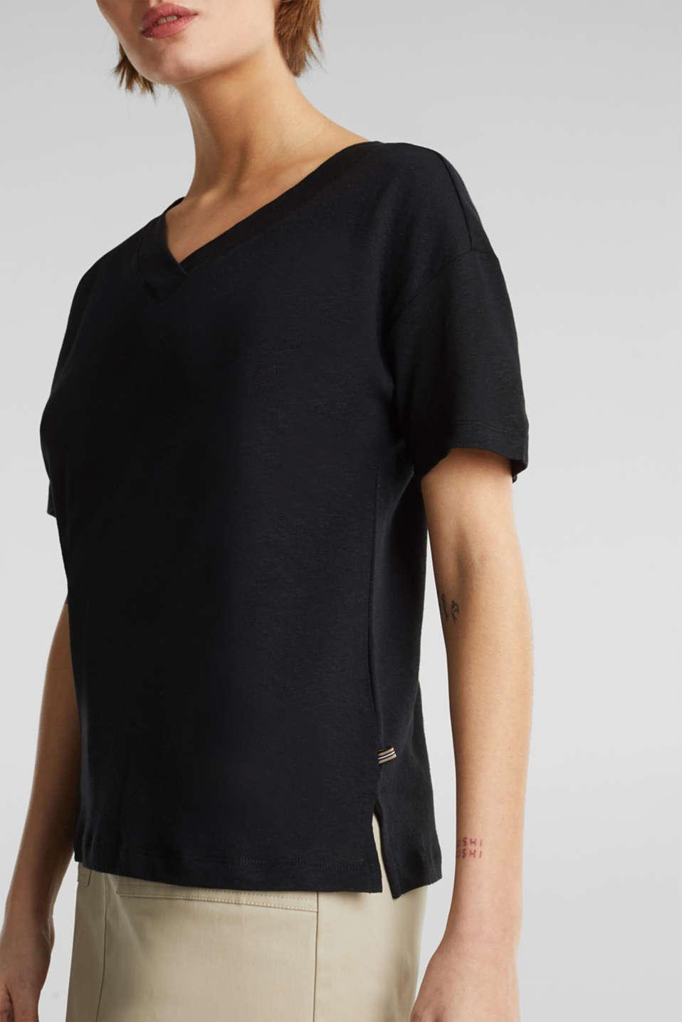 Made of blended linen: double V-neck T-shirt, BLACK, detail image number 2