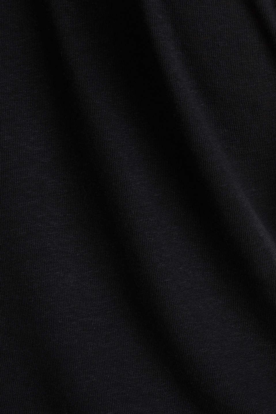 Made of blended linen: double V-neck T-shirt, BLACK, detail image number 4
