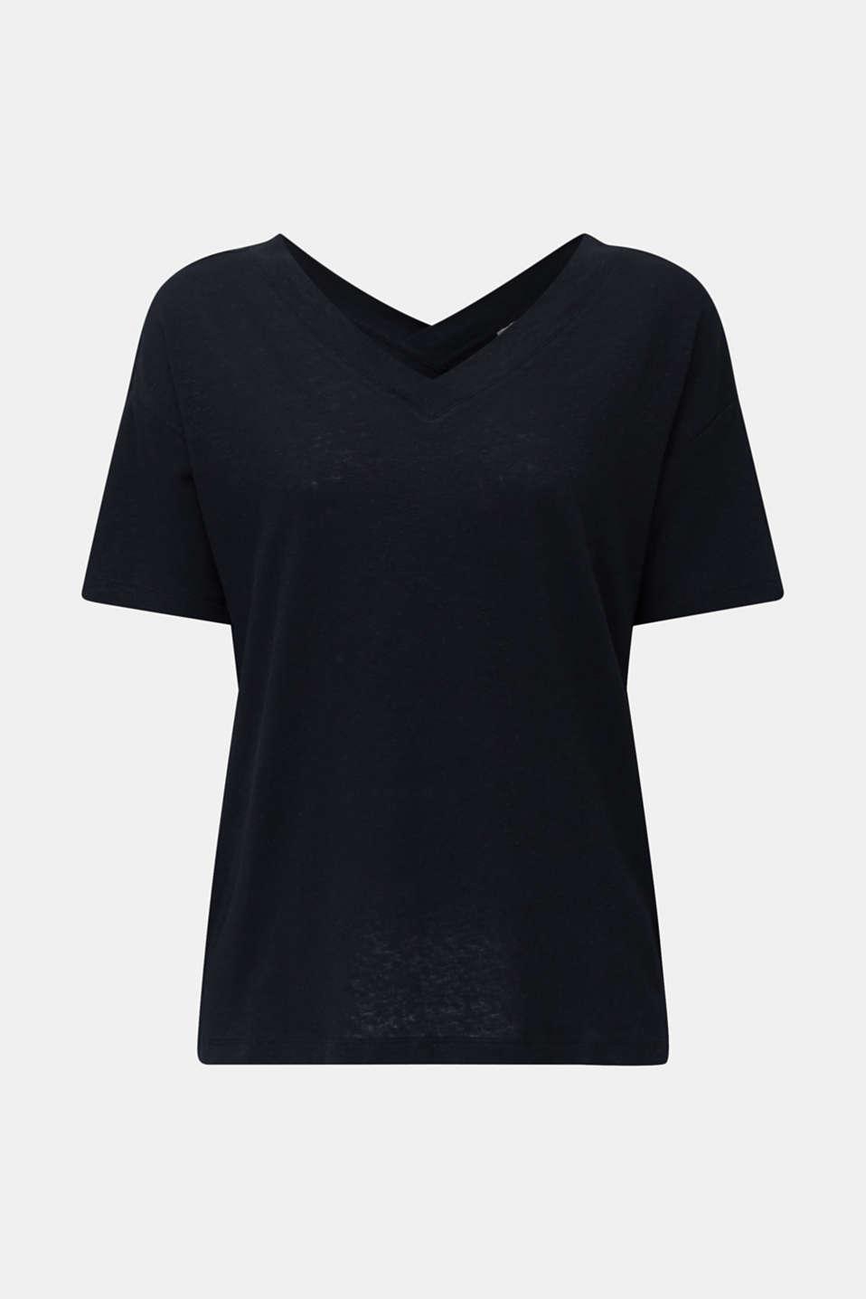 Made of blended linen: double V-neck T-shirt, BLACK, detail image number 6