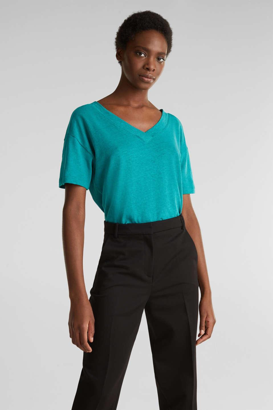 Made of blended linen: double V-neck T-shirt, TEAL GREEN 4, detail image number 0