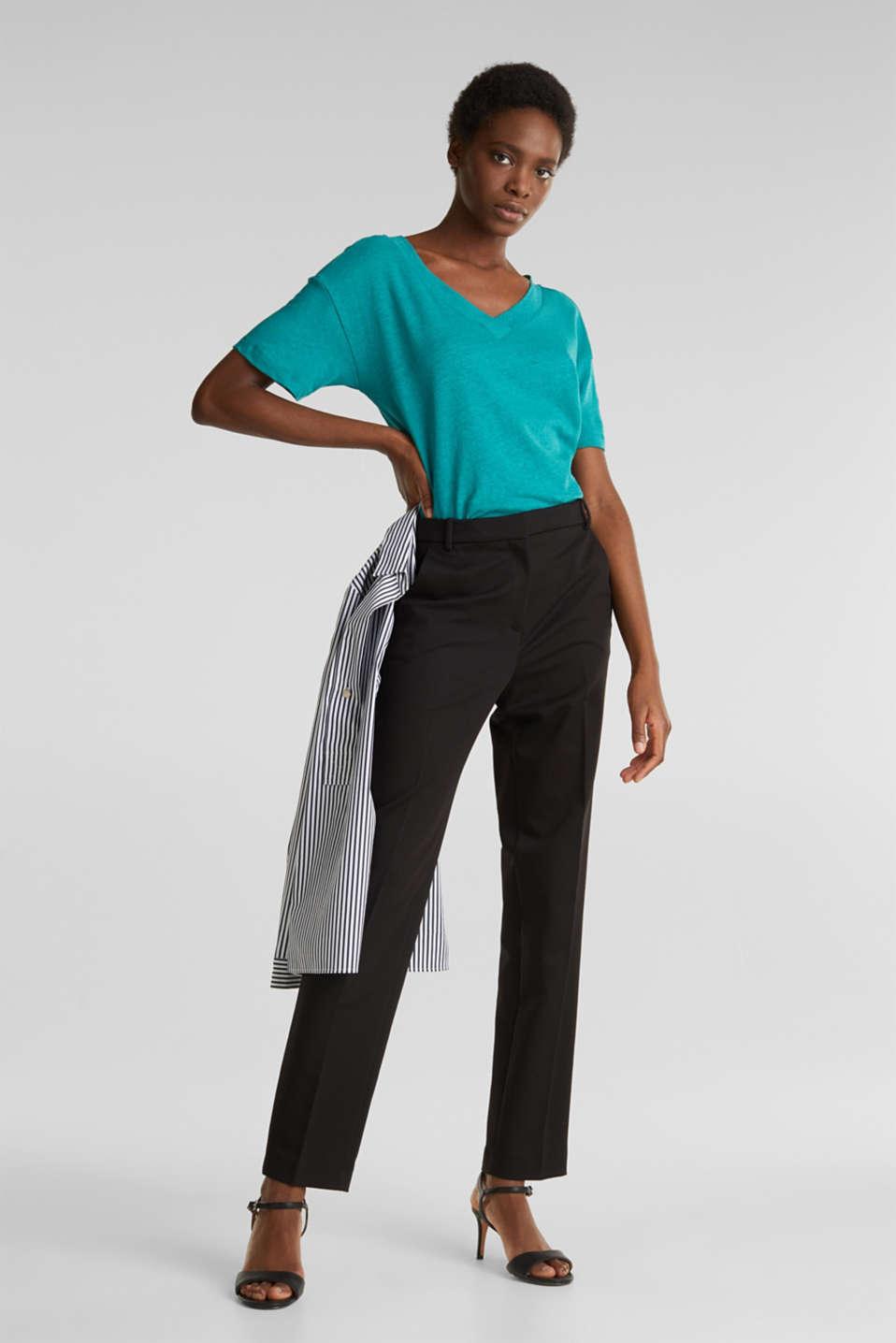 Made of blended linen: double V-neck T-shirt, TEAL GREEN 4, detail image number 1