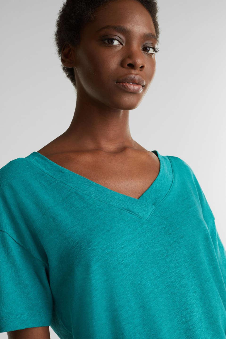 Made of blended linen: double V-neck T-shirt, TEAL GREEN 4, detail image number 6