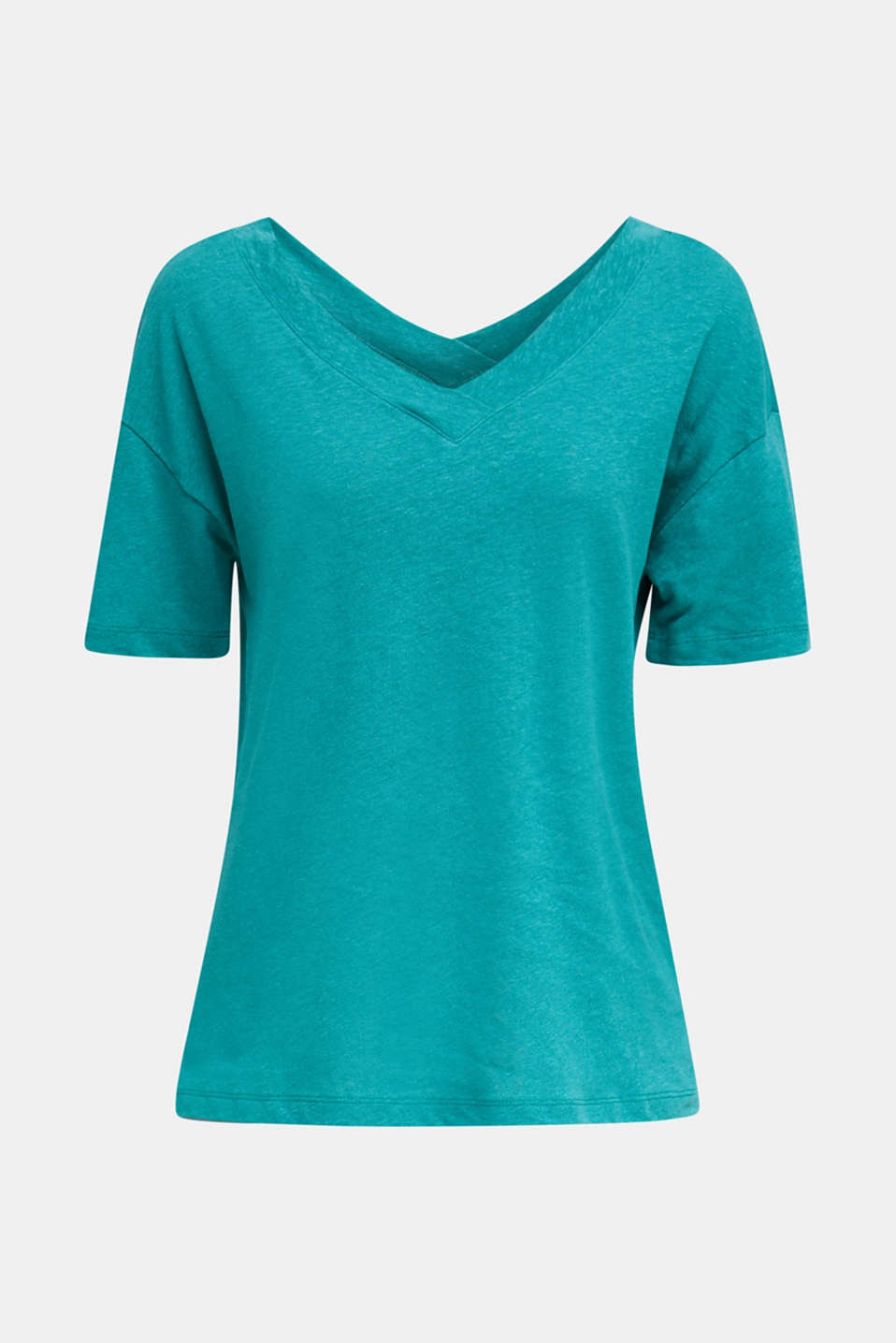 Made of blended linen: double V-neck T-shirt, TEAL GREEN 4, detail image number 7