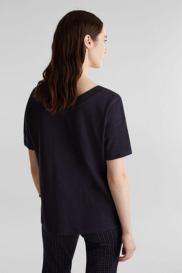 Aus Leinen-Mix: Shirt mit doppeltem V-Ausschnitt, NAVY, detail image number 3