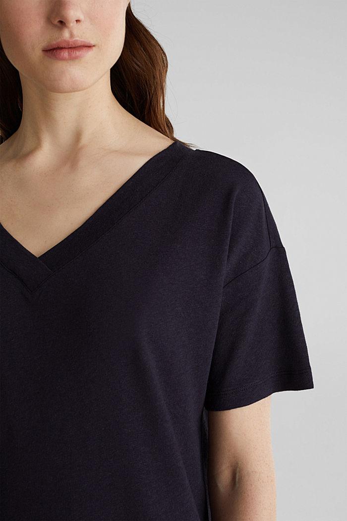 Aus Leinen-Mix: Shirt mit doppeltem V-Ausschnitt, NAVY, detail image number 2