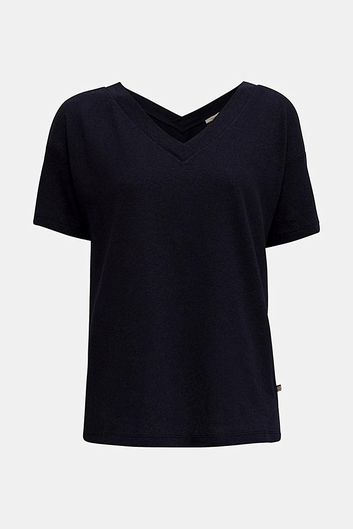 Aus Leinen-Mix: Shirt mit doppeltem V-Ausschnitt, NAVY, detail image number 6