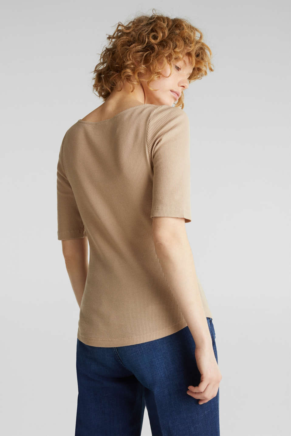 Textured top ,100% organic cotton, BEIGE, detail image number 3