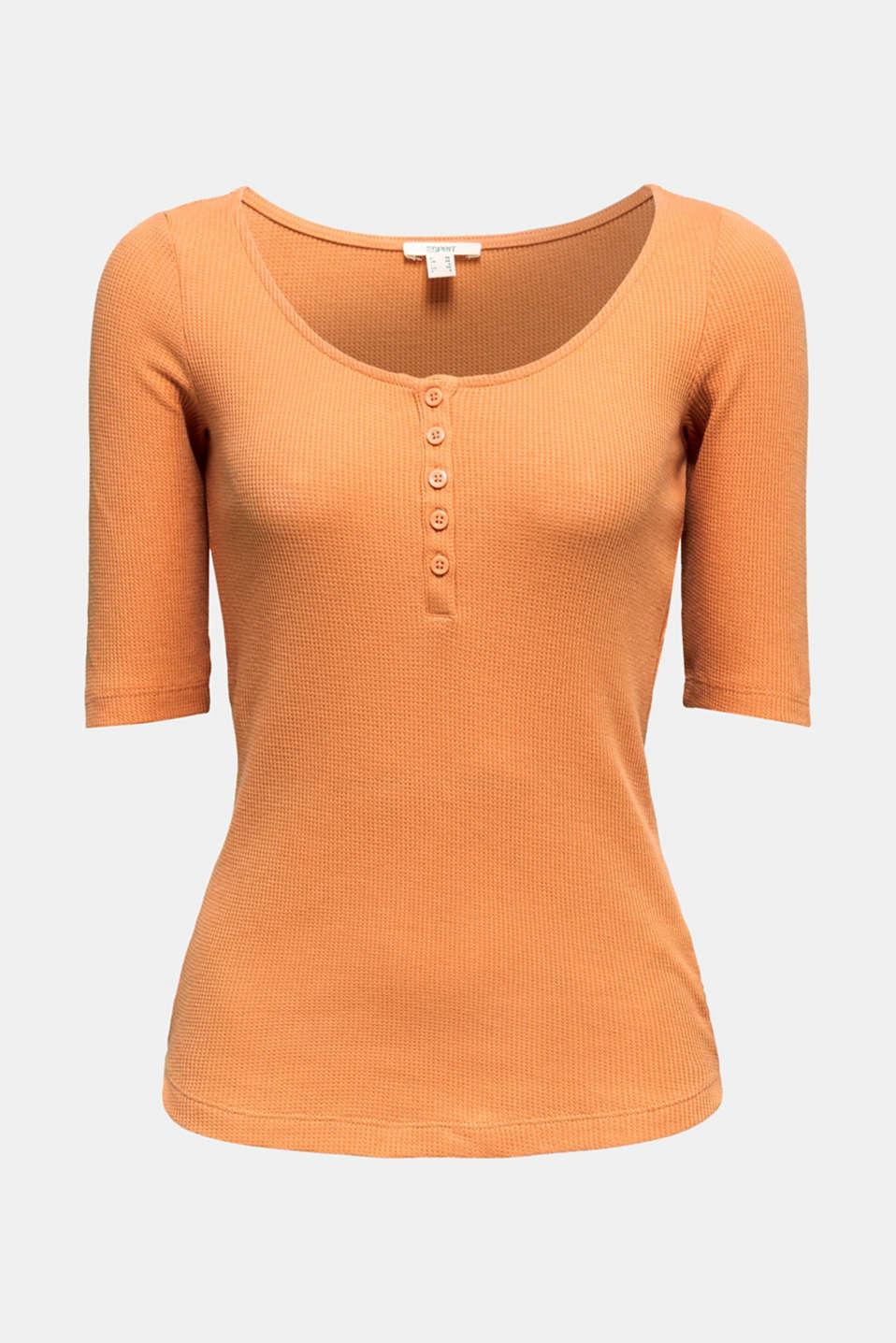 Textured top ,100% organic cotton, RUST ORANGE, detail image number 6