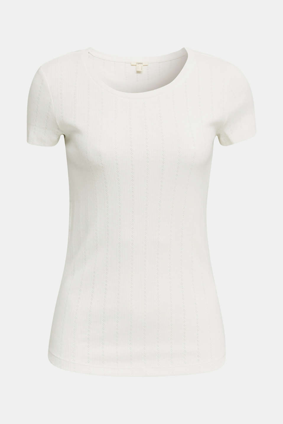 Openwork pattern top made of organic cotton, OFF WHITE, detail image number 6