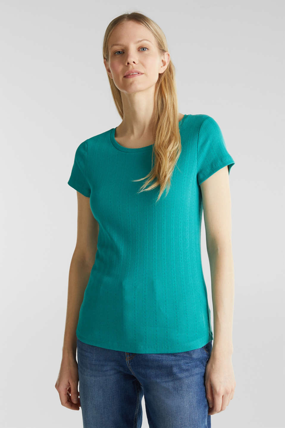 Openwork pattern top made of organic cotton, TEAL GREEN, detail image number 0