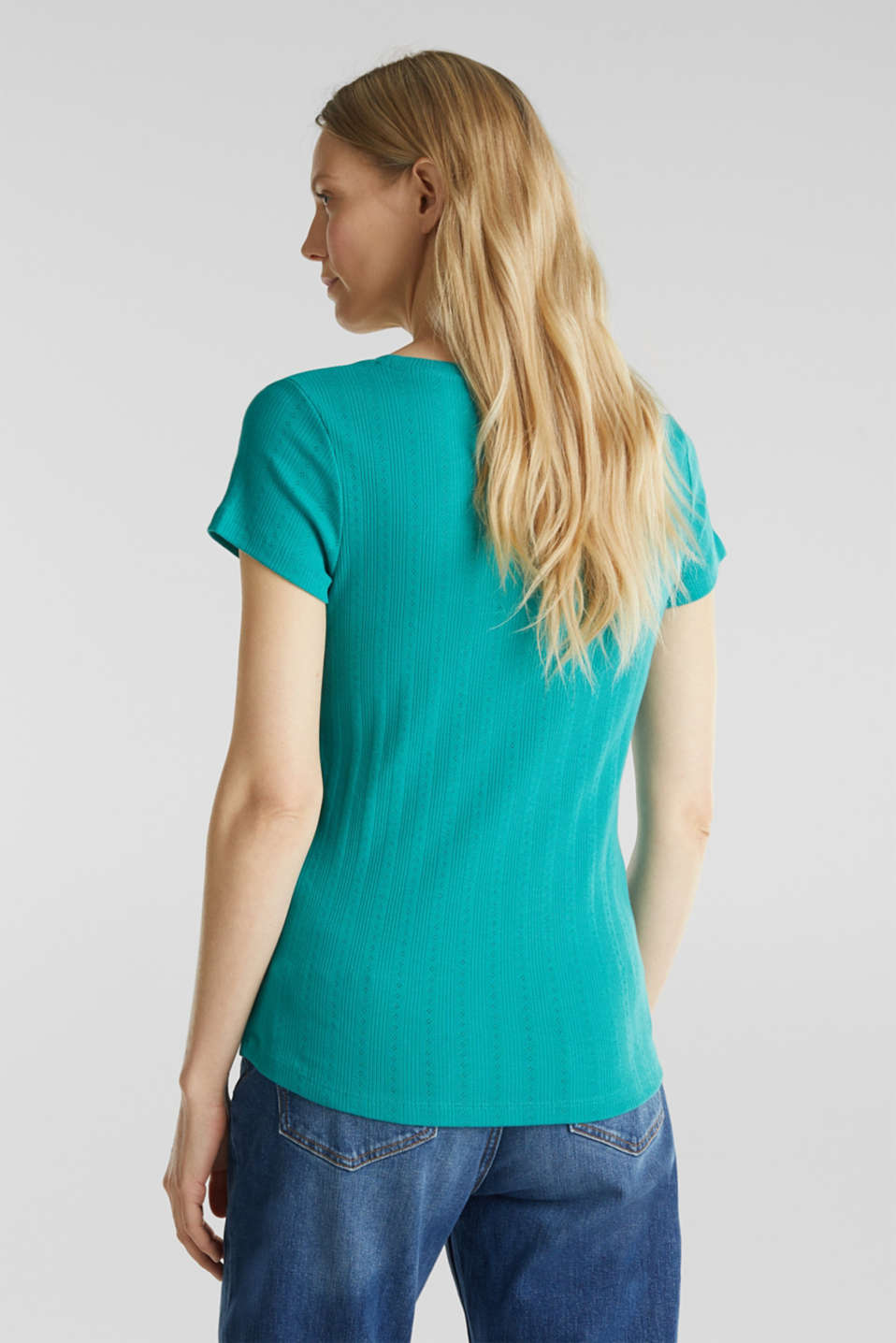 Openwork pattern top made of organic cotton, TEAL GREEN, detail image number 2