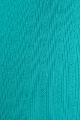 Openwork pattern top made of organic cotton, TEAL GREEN, detail