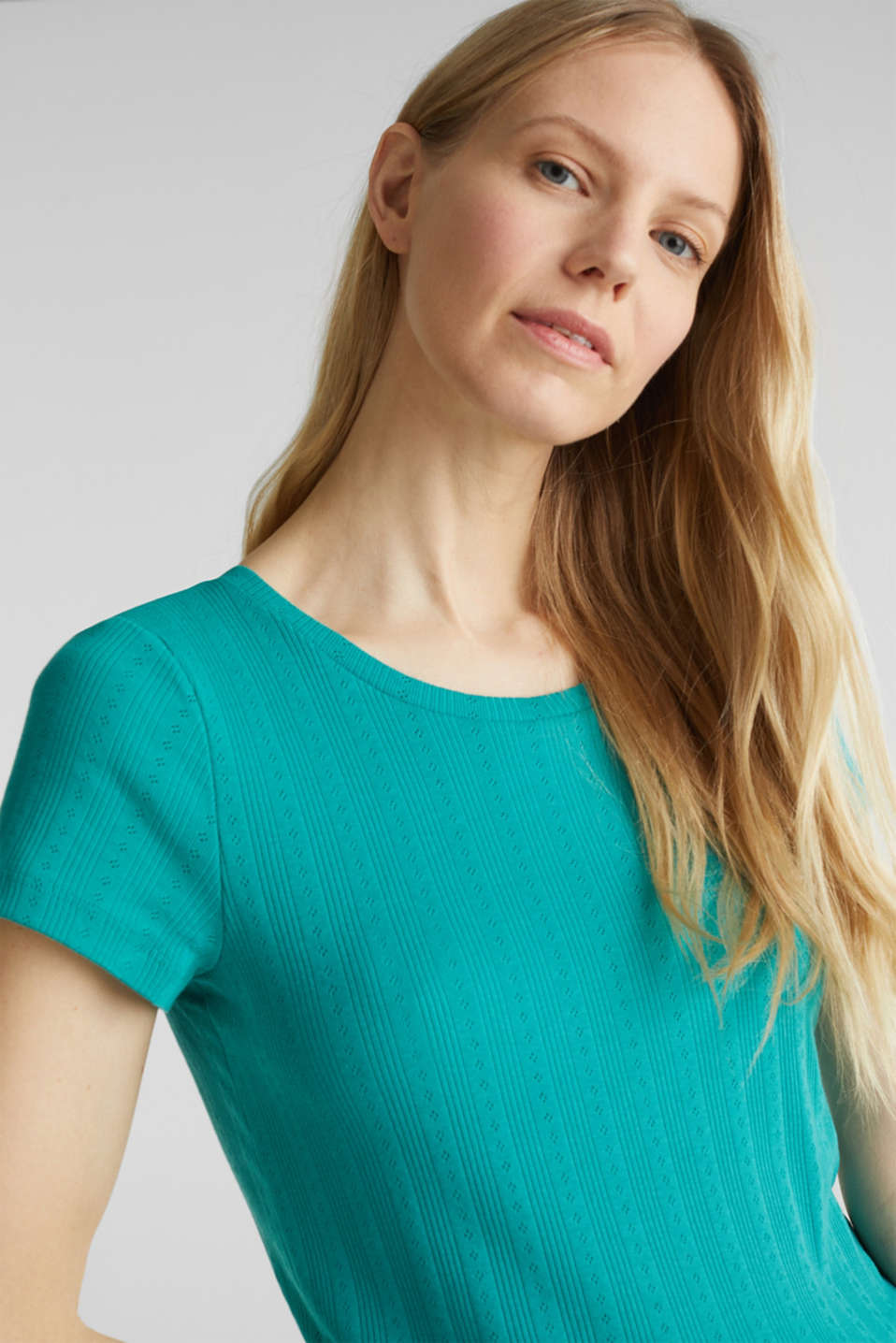 Openwork pattern top made of organic cotton, TEAL GREEN, detail image number 4