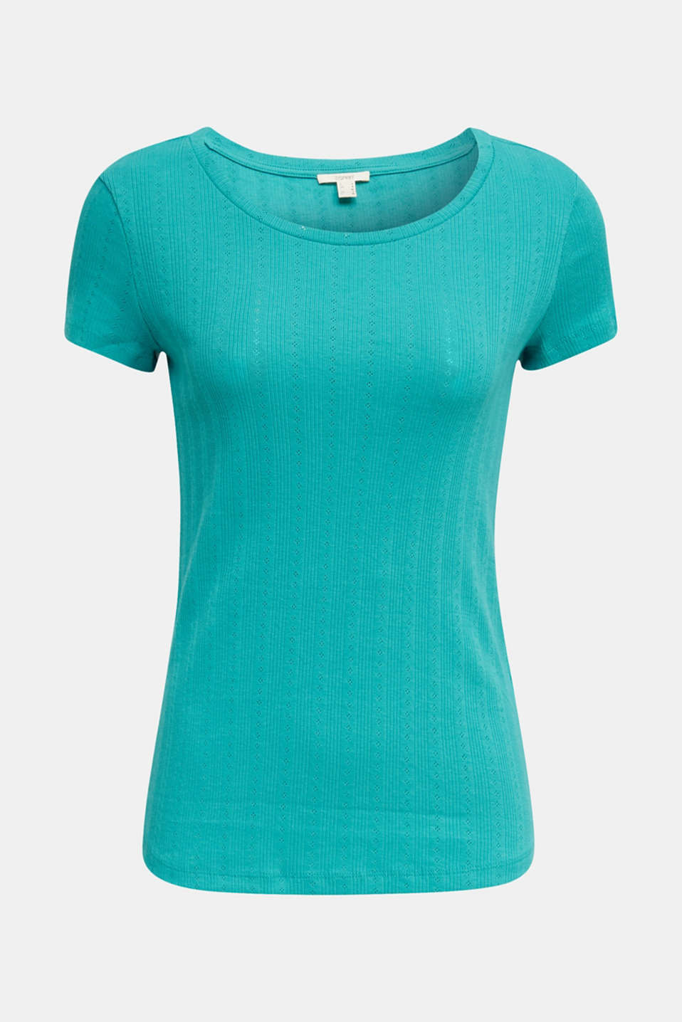 Openwork pattern top made of organic cotton, TEAL GREEN, detail image number 5