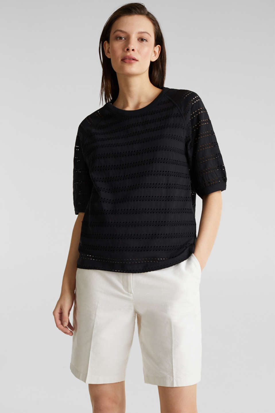 Stretch top with an open-work pattern, BLACK, detail image number 0