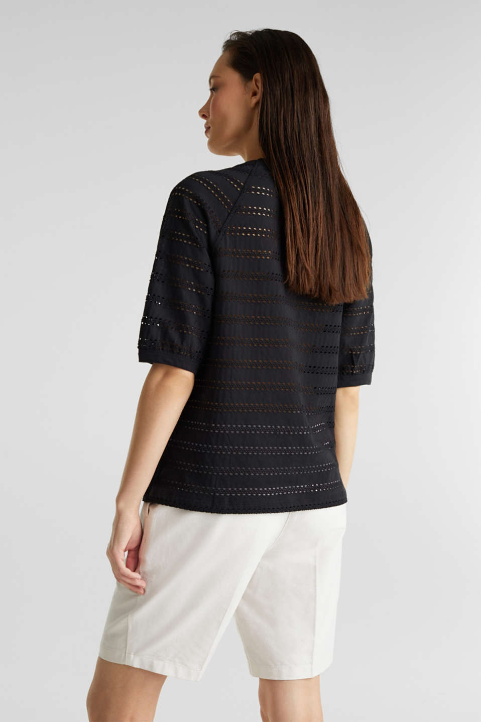 Stretch top with an open-work pattern, BLACK, detail image number 3