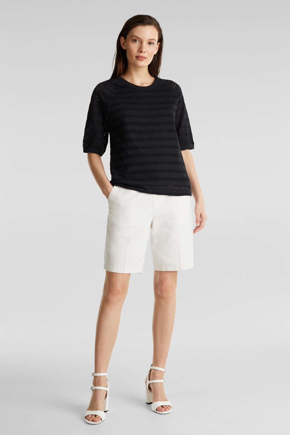 Stretch top with an open-work pattern, BLACK, detail