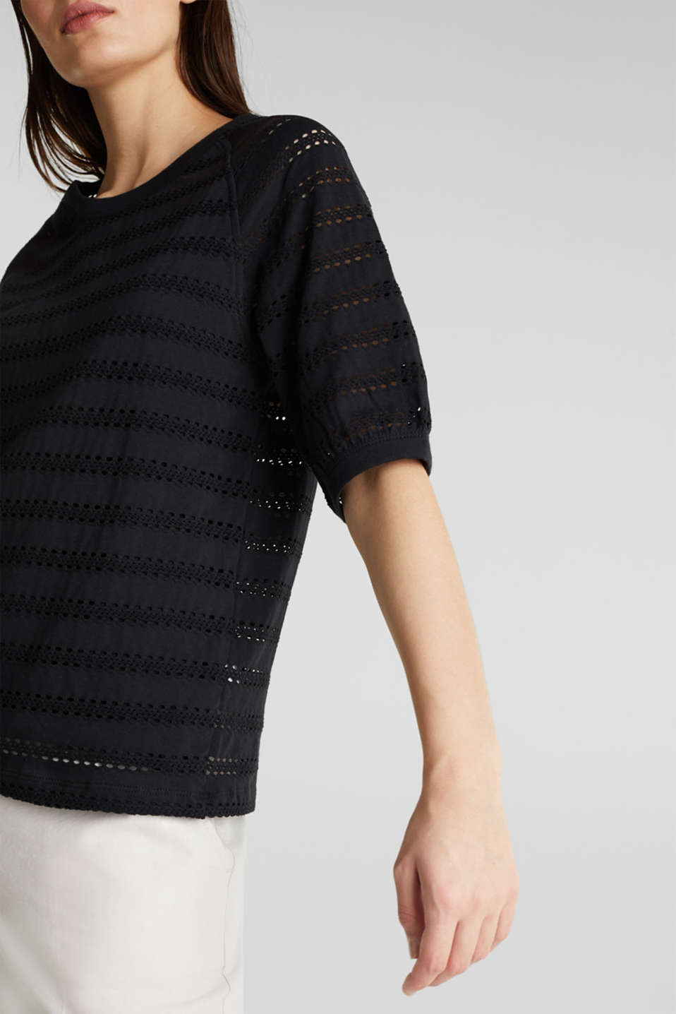 Stretch top with an open-work pattern, BLACK, detail image number 2