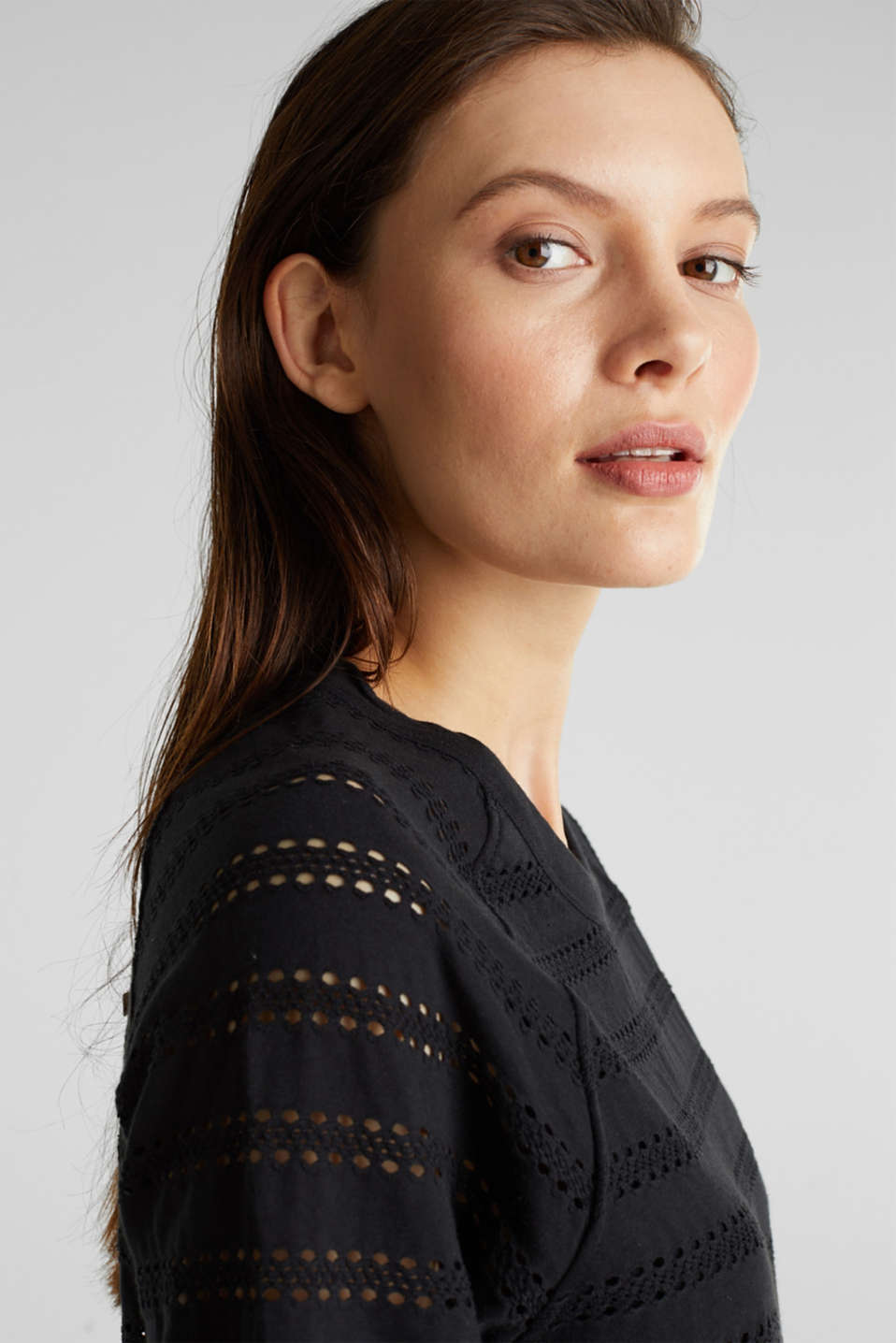 Stretch top with an open-work pattern, BLACK, detail image number 5