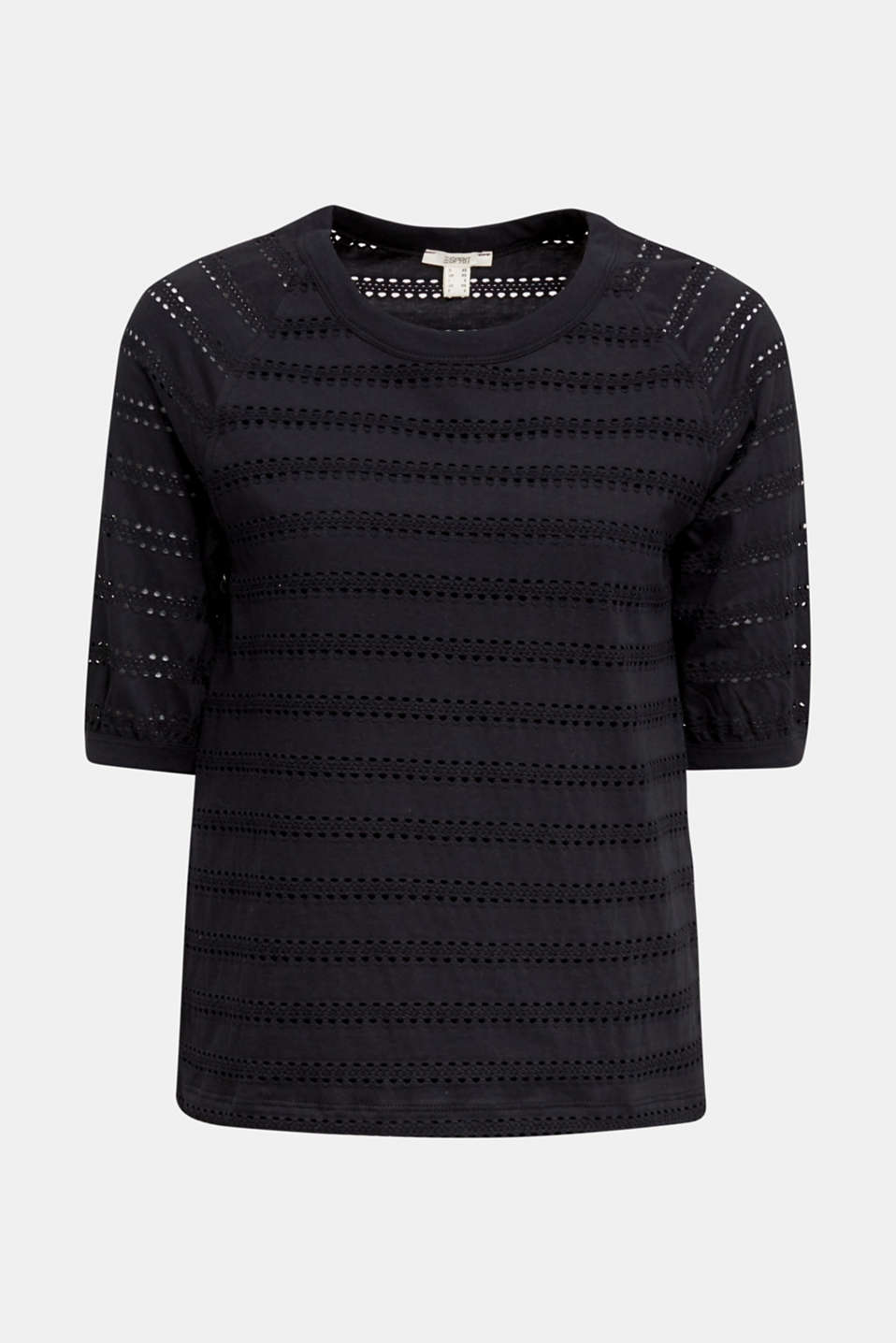 Stretch top with an open-work pattern, BLACK, detail image number 6