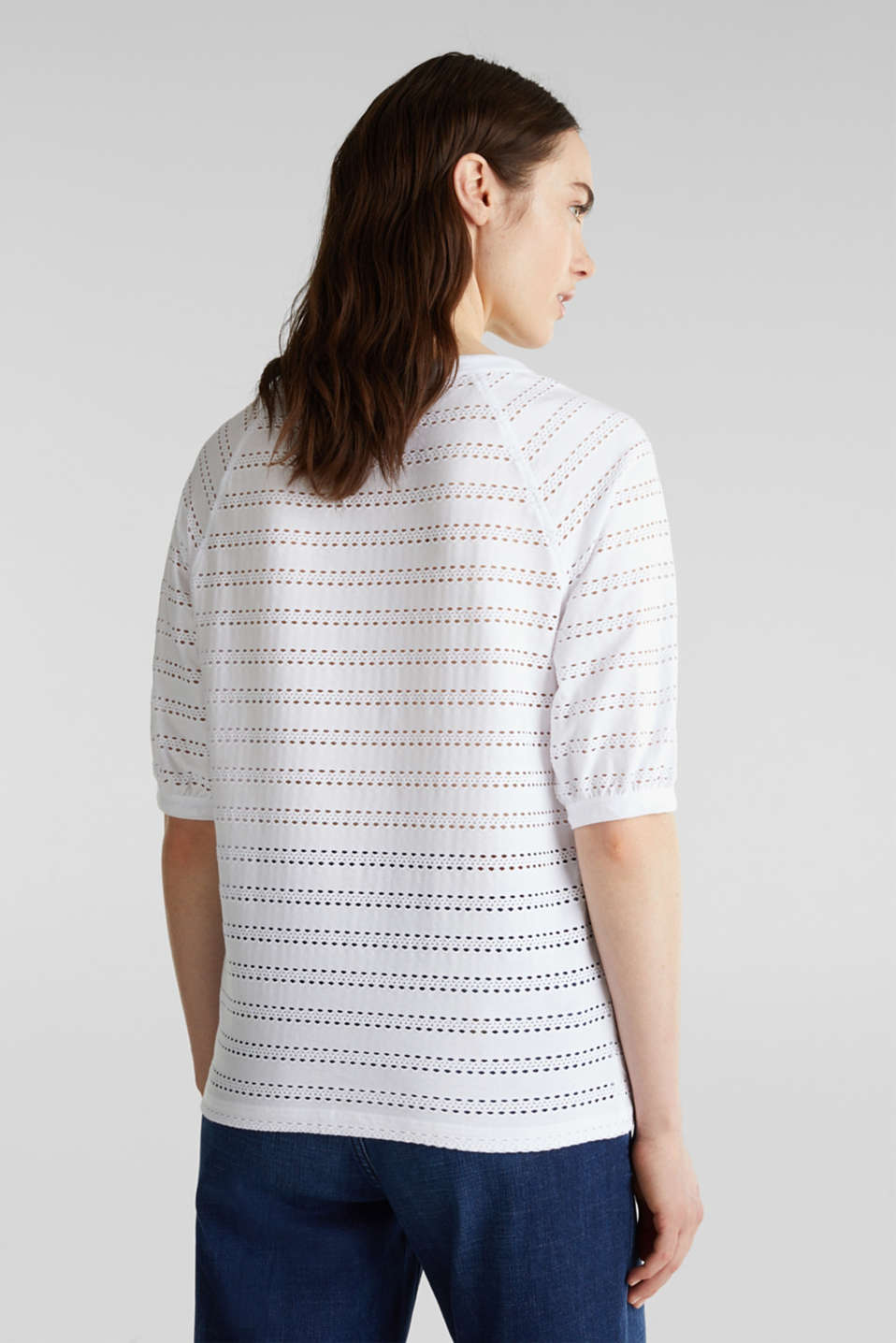 Stretch top with an open-work pattern, WHITE, detail image number 3
