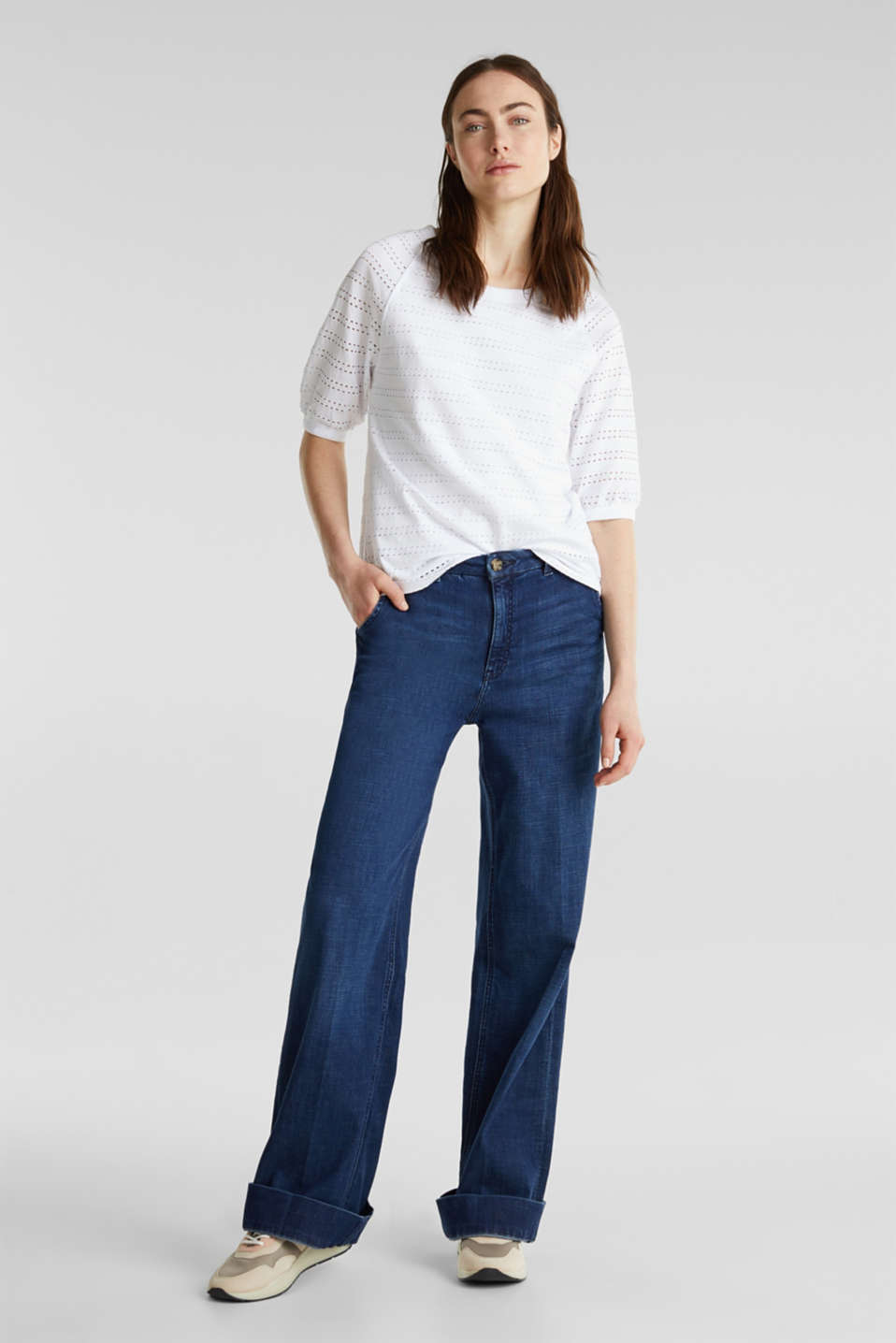 Stretch top with an open-work pattern, WHITE, detail image number 1