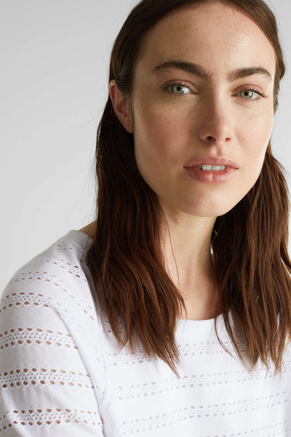 Stretch top with an open-work pattern, WHITE, detail image number 2