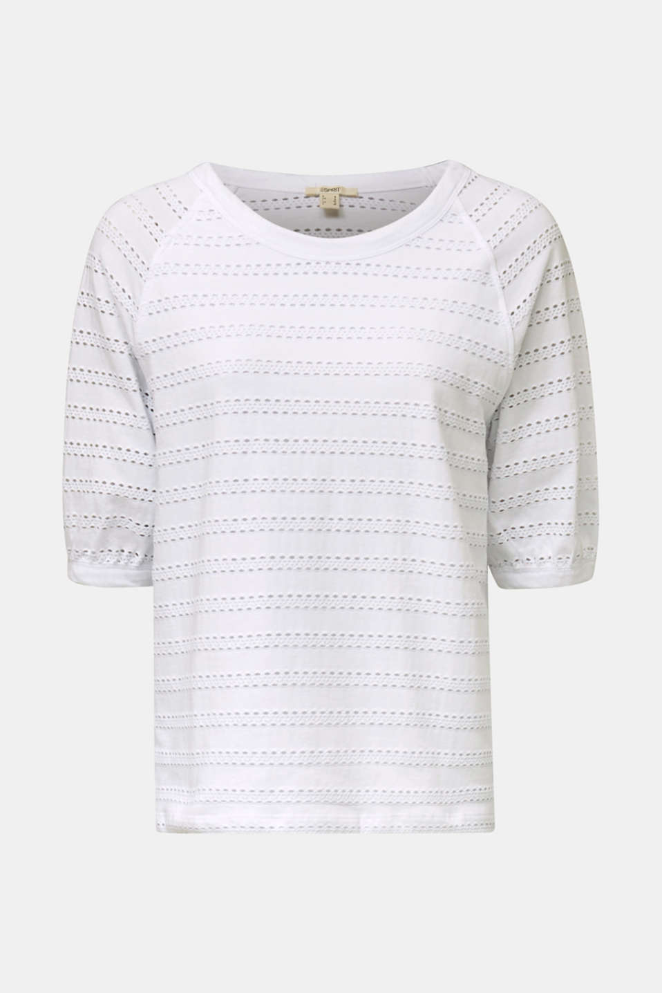 Stretch top with an open-work pattern, WHITE, detail image number 6