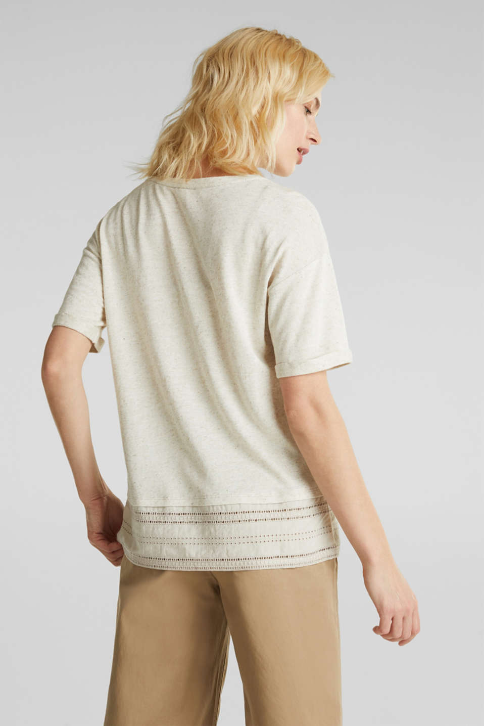 Blended linen: top with an embroidered fabric hem, ICE, detail image number 3