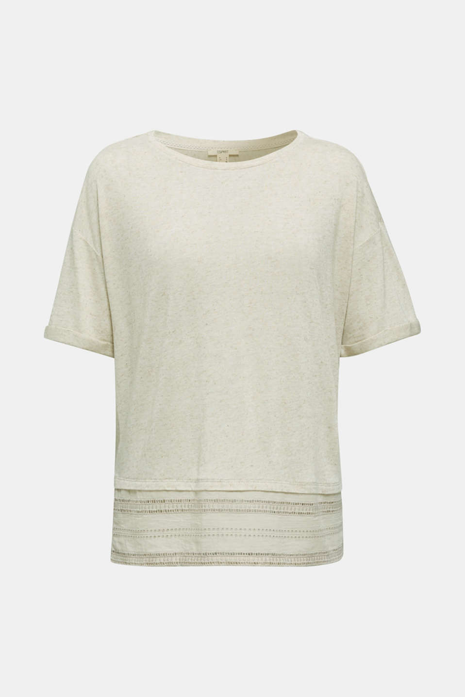 Blended linen: top with an embroidered fabric hem, ICE, detail image number 6