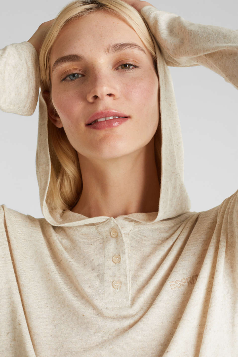Blended linen: Hooded long sleeve top, ICE, detail image number 5