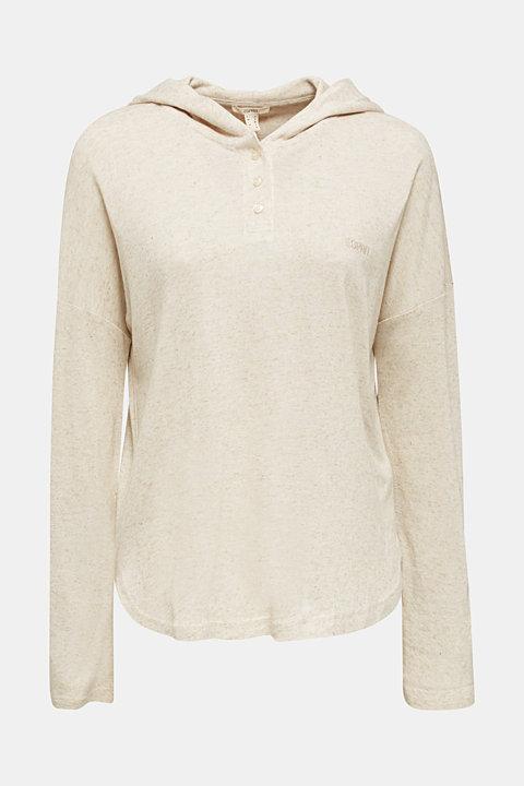 Blended linen: Hooded long sleeve top