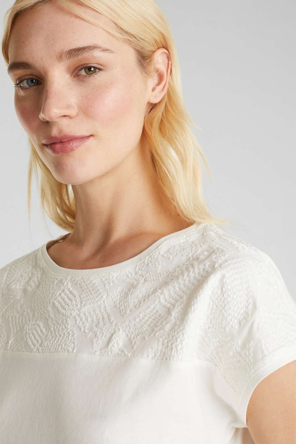 Embroidered top, 100% organic cotton, OFF WHITE, detail image number 4