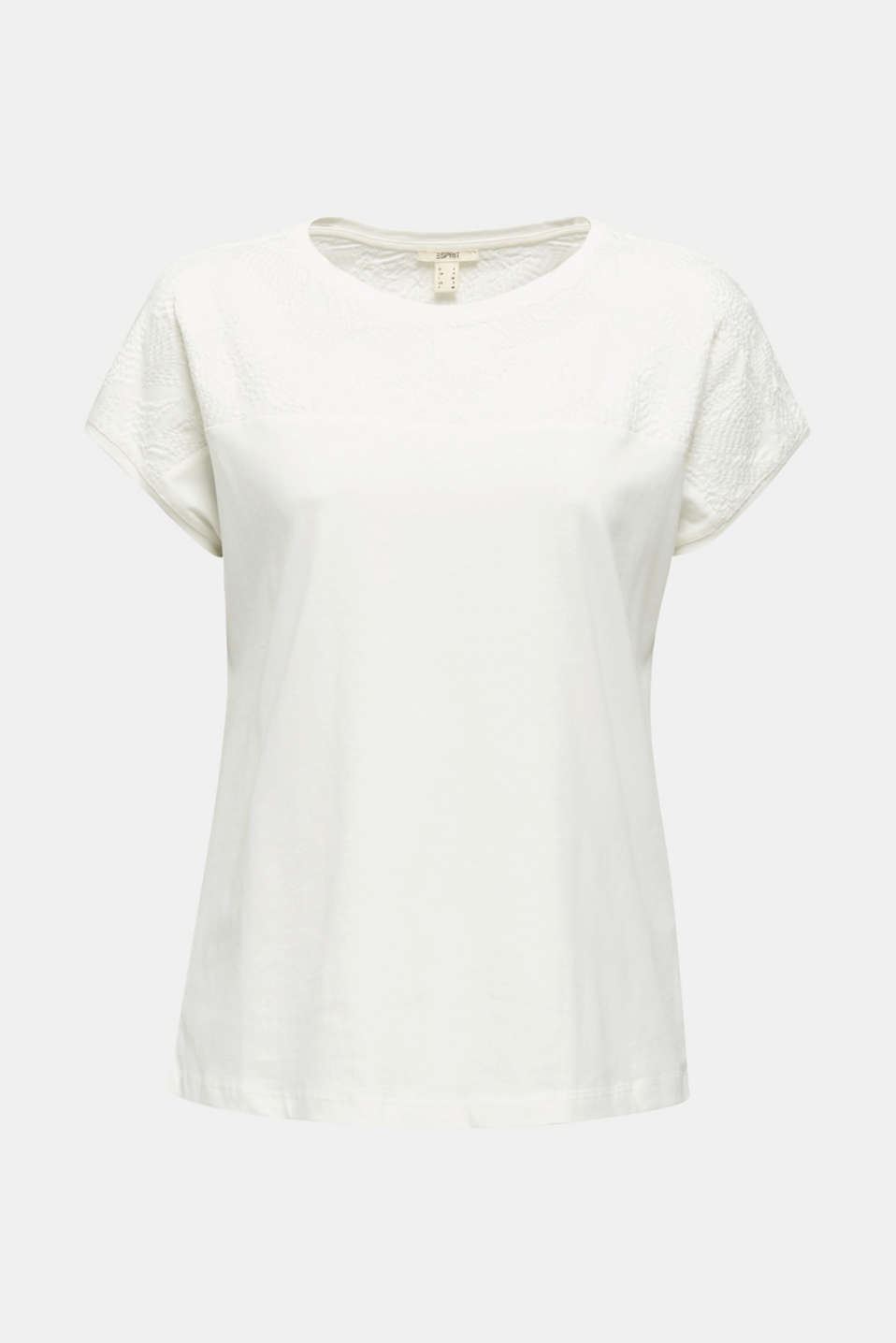 T-shirt with embroidery, 100% organic cotton, OFF WHITE, detail image number 5