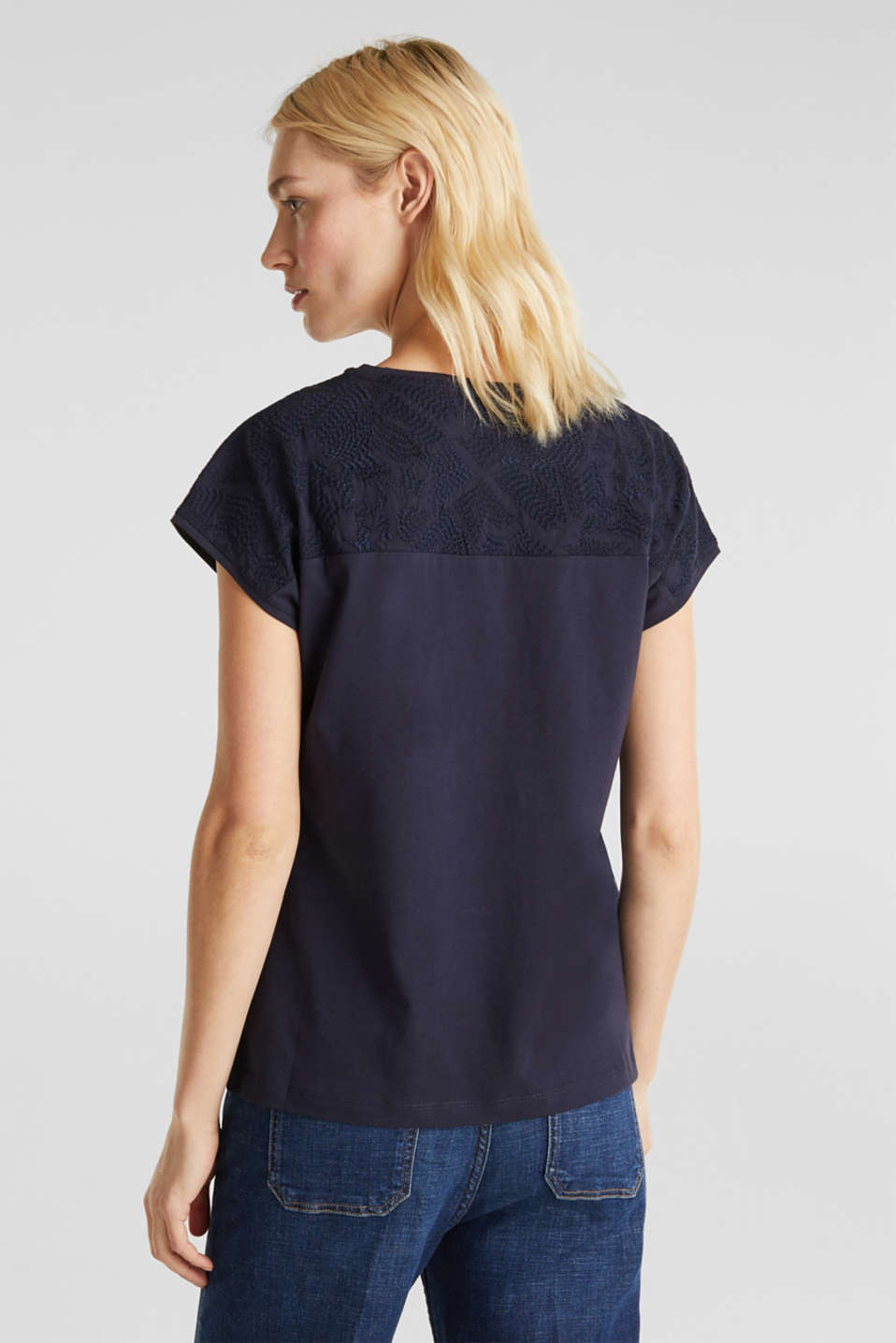 T-shirt with embroidery, 100% organic cotton, NAVY, detail image number 3