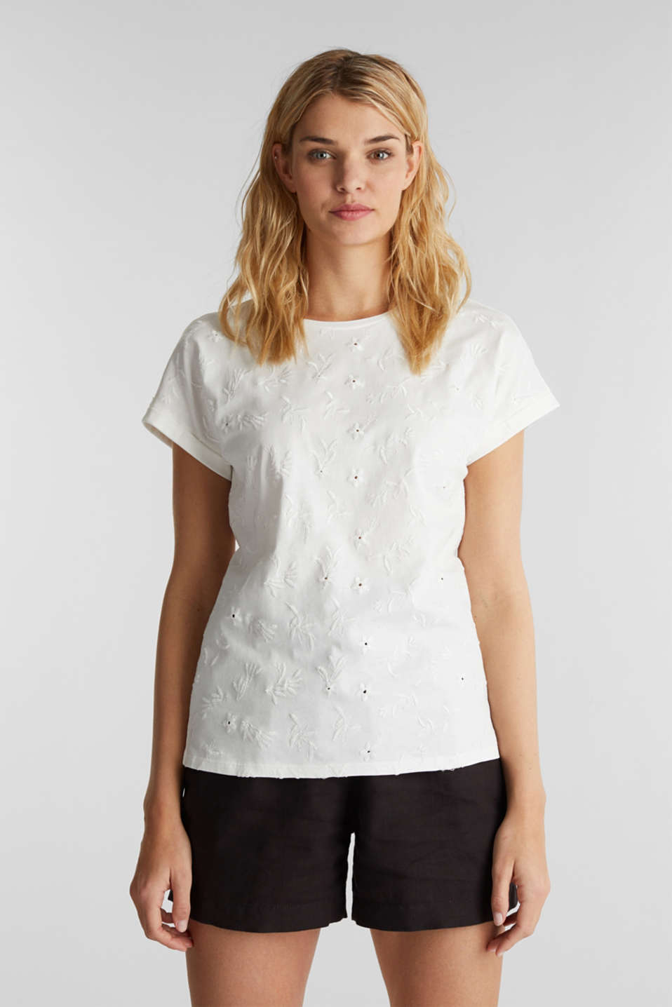 Esprit - T-shirt with tonal embroidery, 100% organic cotton