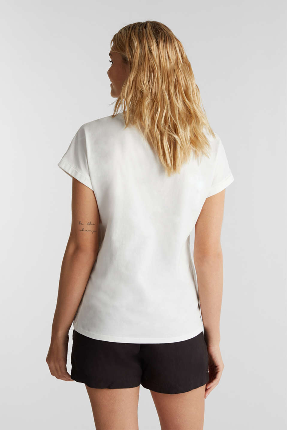 T-shirt with tonal embroidery, 100% organic cotton, OFF WHITE, detail image number 3