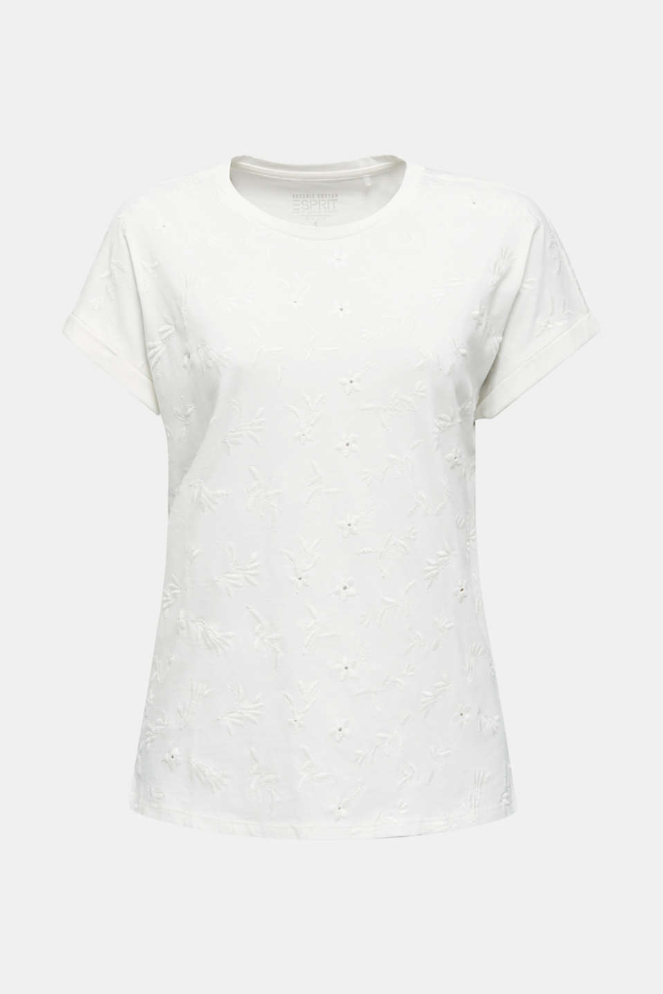 T-shirt with tonal embroidery, 100% organic cotton, OFF WHITE, detail image number 6