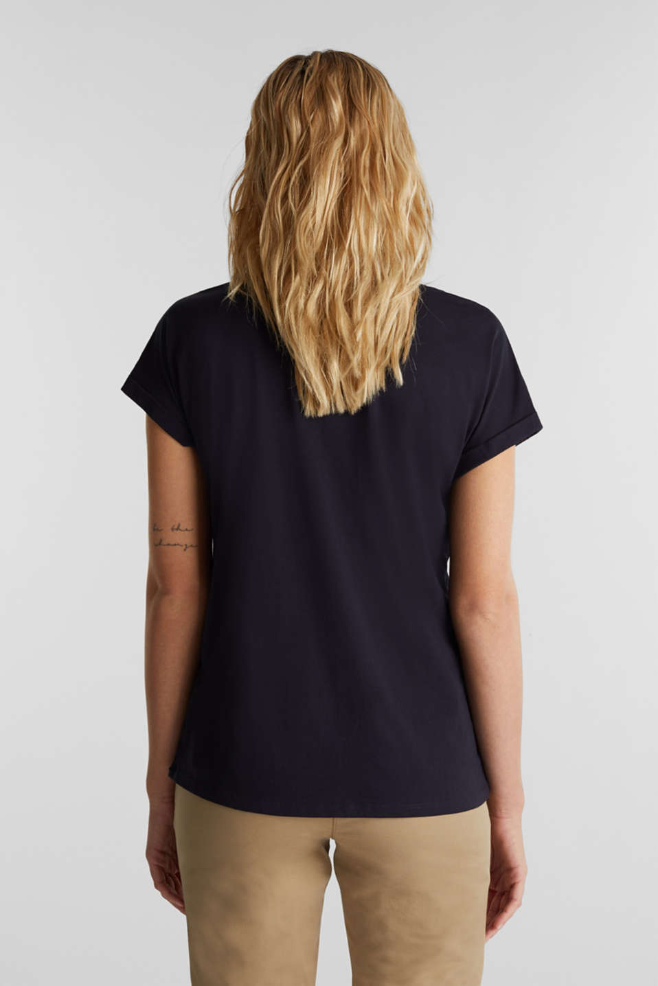 T-shirt with tonal embroidery, 100% organic cotton, NAVY, detail image number 3