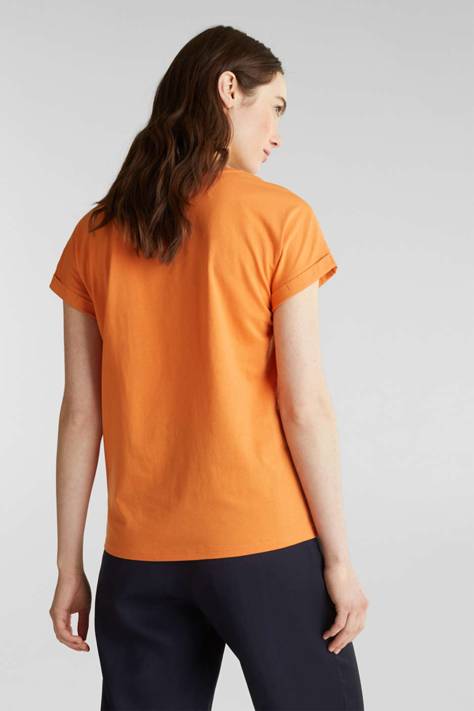 T-shirt with tonal embroidery, 100% organic cotton, RUST ORANGE, detail image number 3
