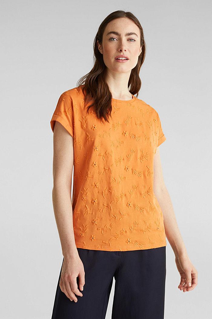 Shirt mit toniger Stickerei, 100% Organic Cotton, RUST ORANGE, detail image number 1