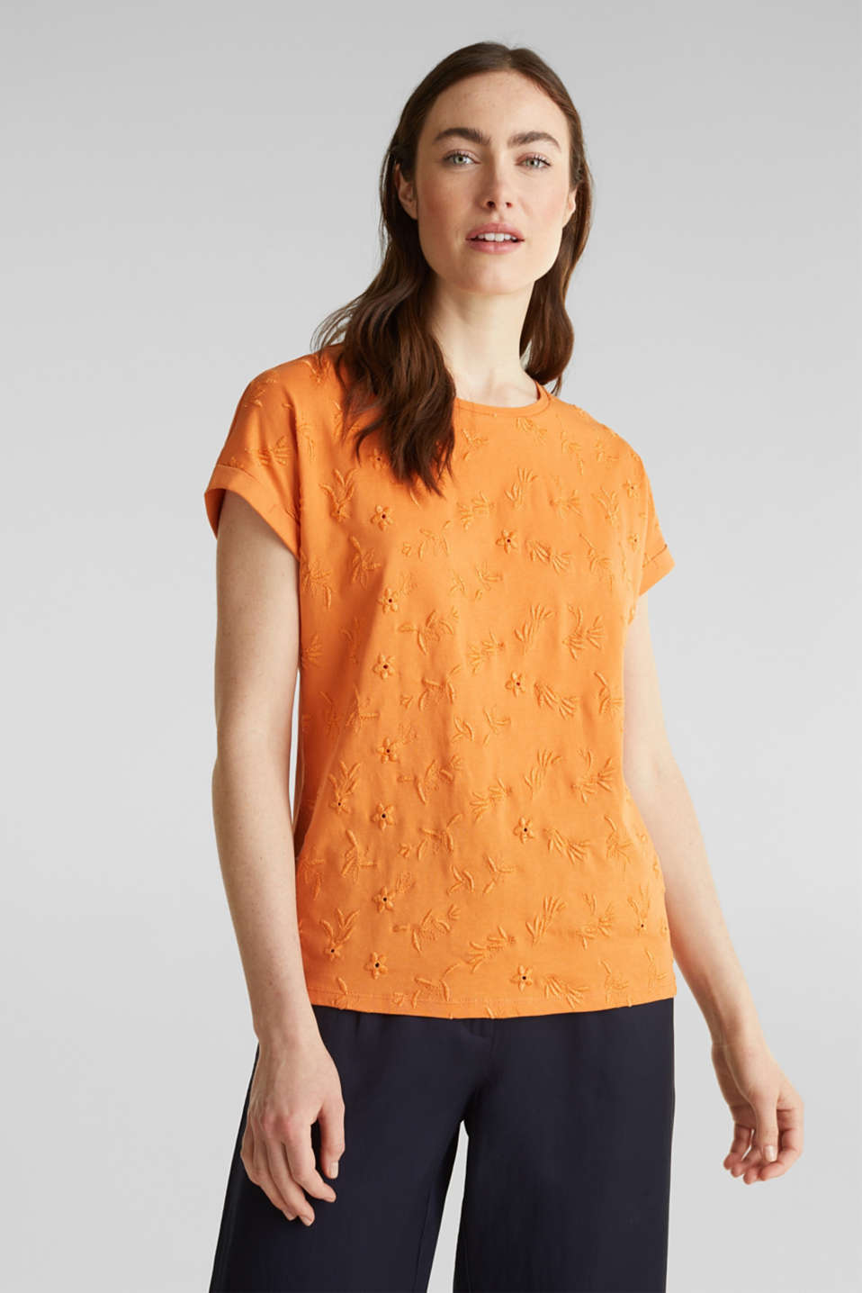 T-shirt with tonal embroidery, 100% organic cotton, RUST ORANGE, detail image number 1