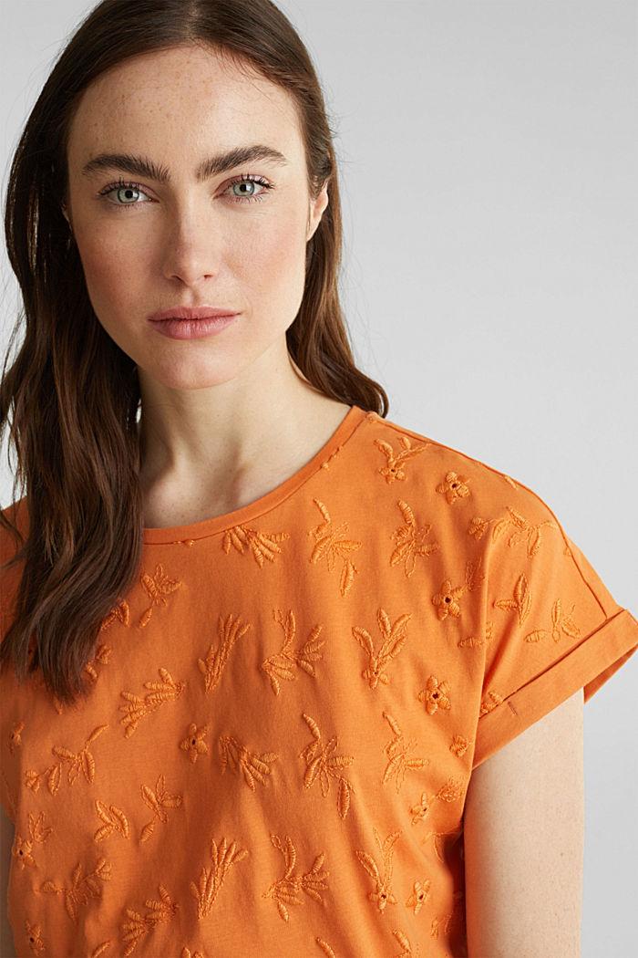 Shirt mit toniger Stickerei, 100% Organic Cotton, RUST ORANGE, detail image number 5