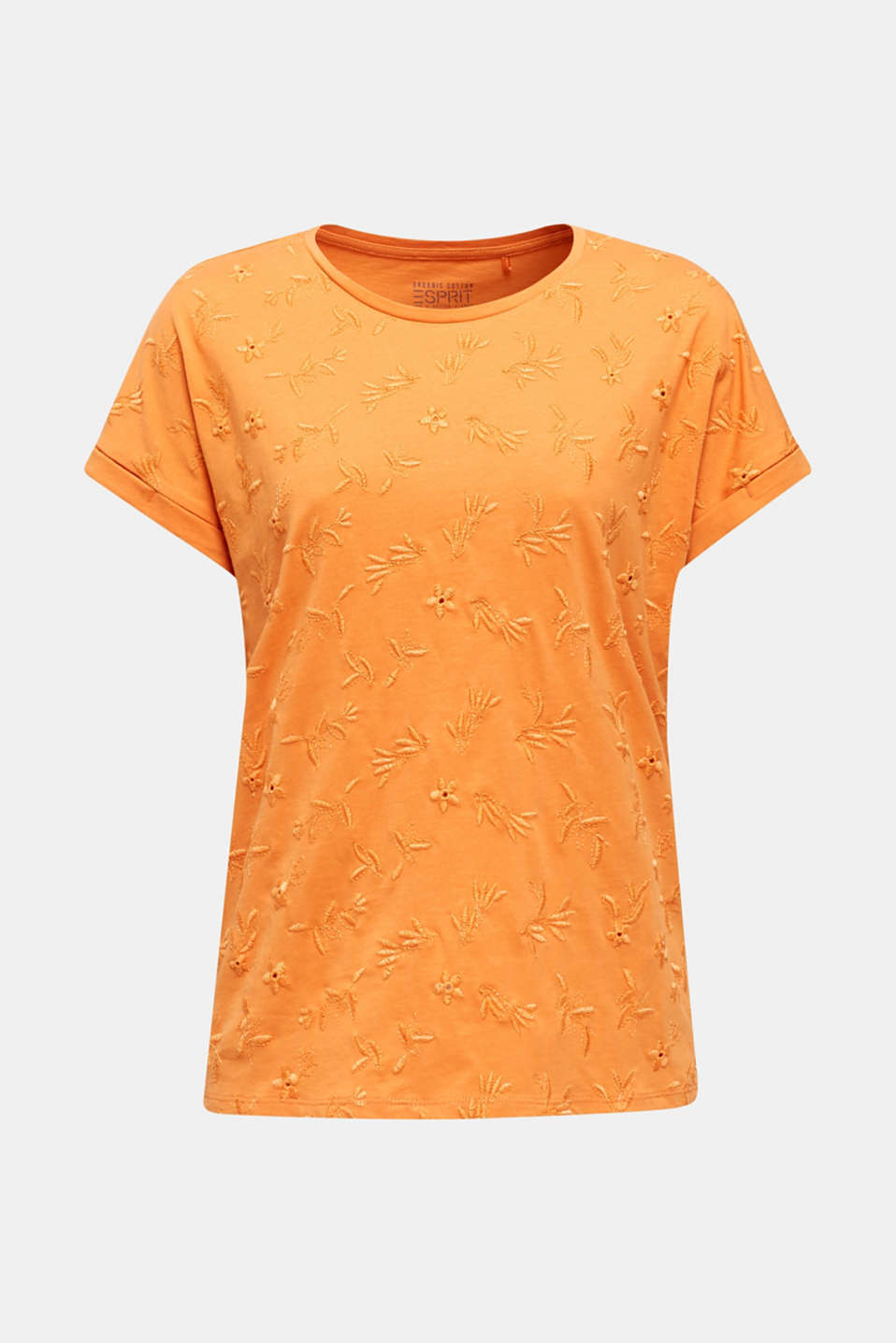 T-shirt with tonal embroidery, 100% organic cotton, RUST ORANGE, detail image number 6