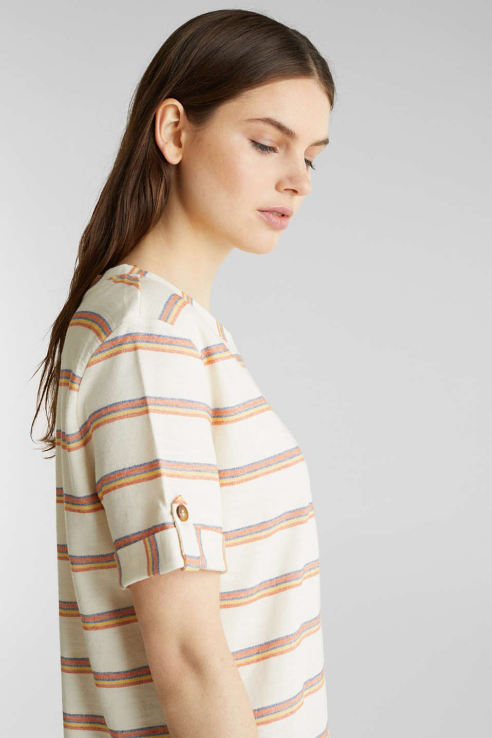 Textured top with sleeve straps, RUST ORANGE, detail image number 6