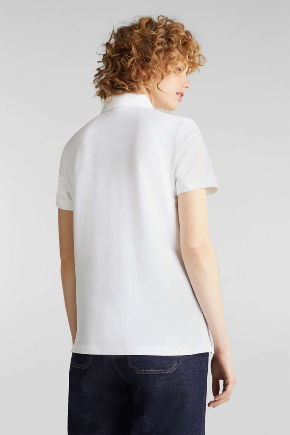 Stretch cotton piqué polo shirt, WHITE, detail image number 3
