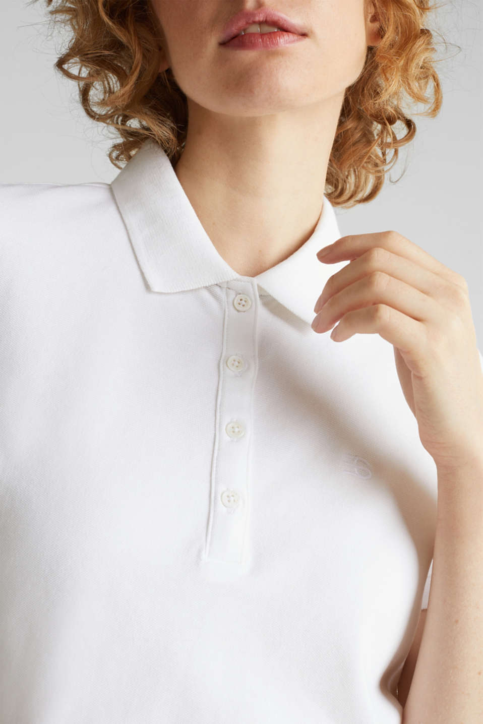 Stretch cotton piqué polo shirt, WHITE, detail image number 2