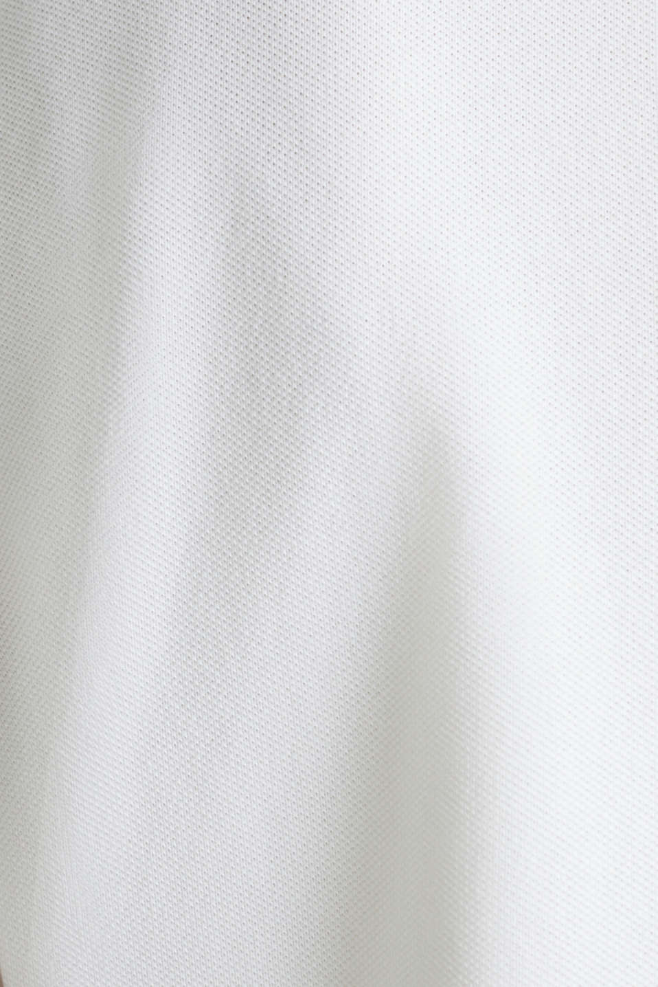 Stretch cotton piqué polo shirt, WHITE, detail image number 4