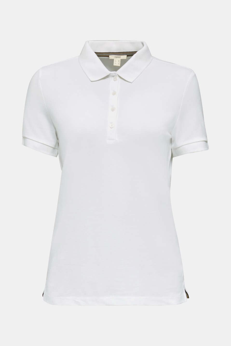 Stretch cotton piqué polo shirt, WHITE, detail image number 6