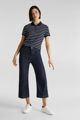 Stretch cotton piqué polo shirt, NAVY, detail